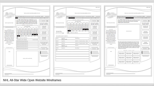NHL All-Star Wide Open website wireframes